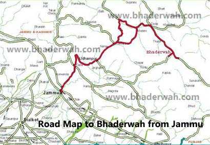 Road Map to Bhaderwah from Jammu